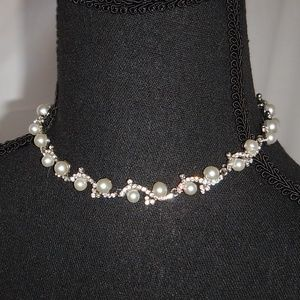 Rhinestone and Faux Pearl Choker